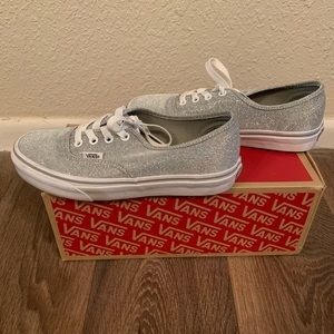 Silver glitter vans, size 7! Worn once!